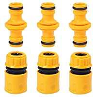 URATOT 6 Pack Garden Hose Quick Connector Hose End Connector Double Male Hose End Connector Extender for Join Garden 1/2 Inch Hose Pipe Tube (Color A)