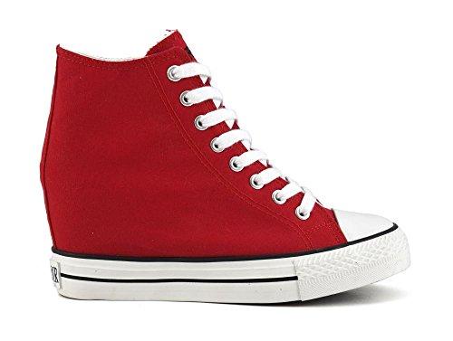 cafe-noir-dg900-sneakers-in-canvas-allacciate-alte-con-zeppa-interna-40-rosso