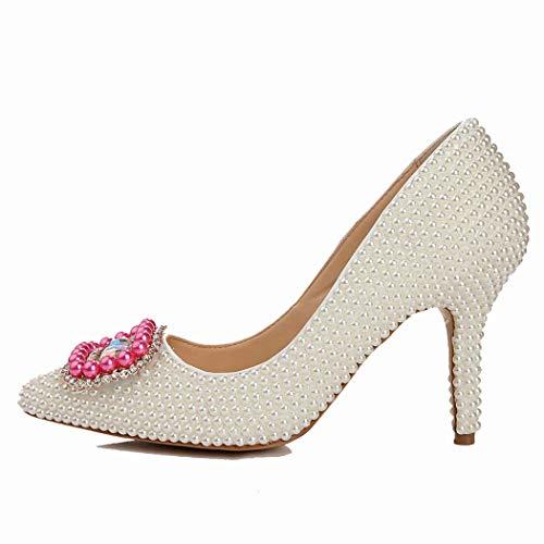 White Court (MISS&YG Damen Strass Hochzeit Heels Kleid Sandalen Prom Schuhe Hochzeit Schuhe Flacher Mund High Heels Kleid Party Court Schuhe,White,41)
