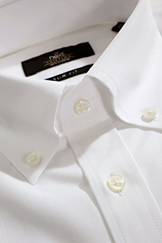 next Homme Chemise à col boutonné Blanc Poignet Unique