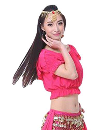 ZhiYuanAN Femmes 3Pcs Vêtements Danse Du Ventre Costume Tribal Tops & Pantalon Tribal & Chaîne à La Taille 1# Rose