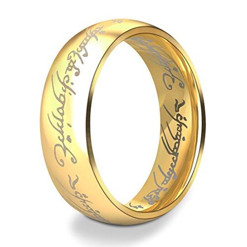 DALARAN Die Herren der Ringe 316L Edelstahl Ringe Gold Mode Frauen Schmuck Gold 51(16)