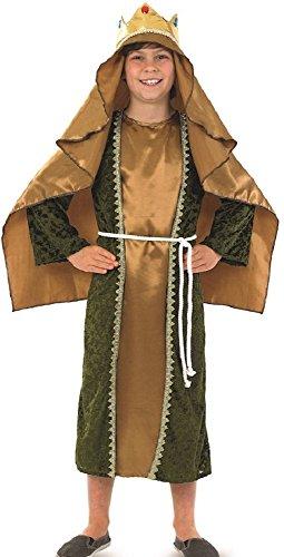 Wiseman Kind Kostüm - Fancy Me Jungen Mädchen Kinder Gold Weiser Mann Wiseman Geburt Schule Weihnachten Play Kostüm Kleid Outfit - Gold, 10-12 Years