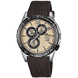Lotus Men's Quartz Watch with Beige Dial Analogue Display and Brown Rubber Strap 18310/2