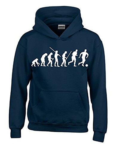 Kinder Sweatshirt Mit Kapuze (FUSSBALL Evolution Kinder Sweatshirt mit Kapuze HOODIE navy-weiss, Gr.140cm)