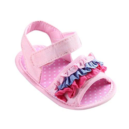 CHENGYANG Bambino Ragazze Antiscivolo Scarpe Sandalo Estivo Scarpine Fiore Primi Passi Camminatori Pink