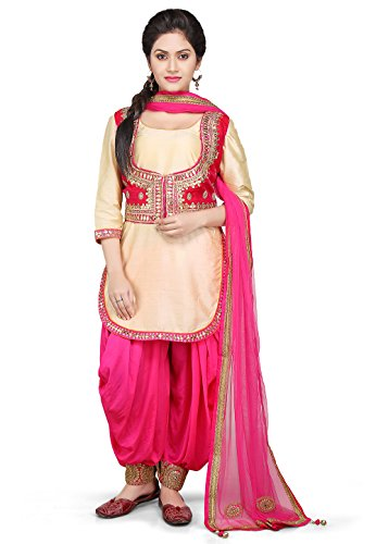 Utsav Fashion Embroidered Cotton Silk Jacket Style Punjabi Suit in Beige Color
