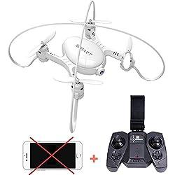 DWI X21 Mini RC Drone Wifi FPV Drone 360 ° Flips y rollos, Barómetro Altitude Hold, Modo de detección de gravedad, Una llave de retorno automático, 2.4 GHz Gyro 6-Axis con 0.3MP Cámara Drone-Blanco