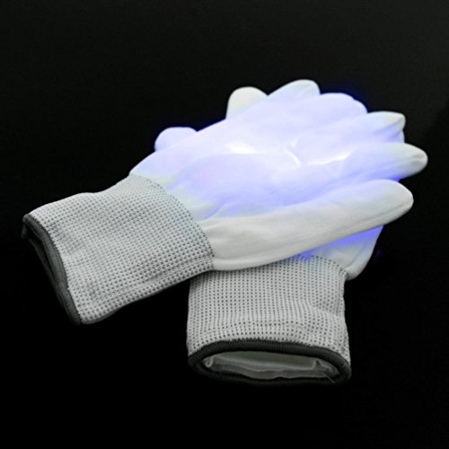 Hunpta Electro LED Multi-Color Blinkhandschuhe Leuchten Halloween Tanz Rave Party Spaß (Blau)