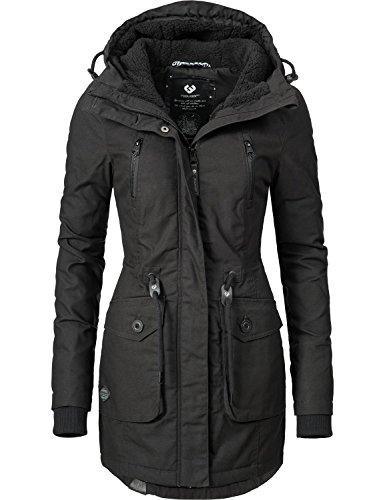 Ragwear Damen Mantel Wintermantel Winterparka YM-Elsa (vegan hergestellt) Schwarz Gr. M