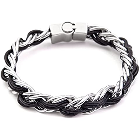 Iconic uomini personalizzati braccialetto in pelle fatti a mano in acciaio inox chiusura magnetica Punk braccialetto intrecciato in