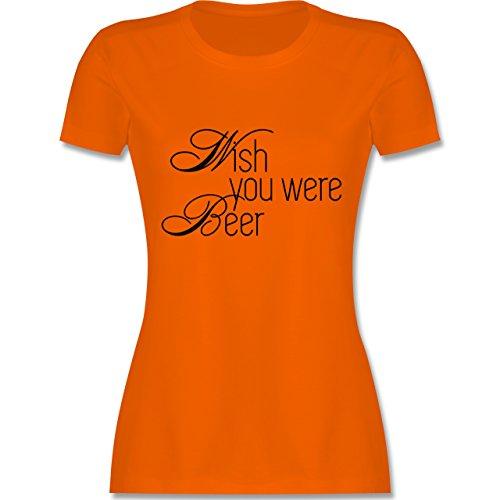 Oktoberfest Damen - Wish you were Beer - tailliertes Premium T-Shirt mit Rundhalsausschnitt für Damen Orange