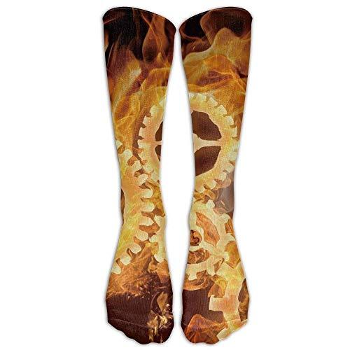 Yuerb Hohe Socken Amazing Fire Steampunk Gears Athletic Tube Stockings Women's Men's Classics Knee High Socks Sport Long Sock One Size