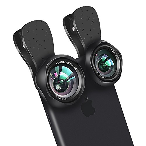 Evershop HD Handy Objektiv 2 in 1 Clip-On Kamera Objektiv mit 145° Weitwinkel Objektiv + 15 X Makro Objektiv für iPhone X 8 Plus 7 Plus/Samsung Galaxy S8 S7 Edge Note7 Note5/ HTC/Lg/Google etc - Hd-linsen