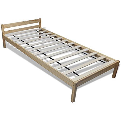 Anself Single Wooden Bed Frame Natural Solid Pinewood 200 x 90 cm