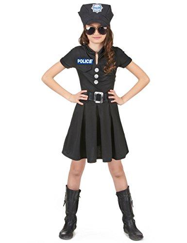 Kostüm Mädchen Polizei - KULTFAKTOR GmbH Kleine Polizistin Kinderkostüm Politesse schwarz-Silber 122/134 (7-9 Jahre)