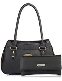 Fostelo Women's Combo Handbag & Clutch (Black & Black) (FSB-1035-FC-29)