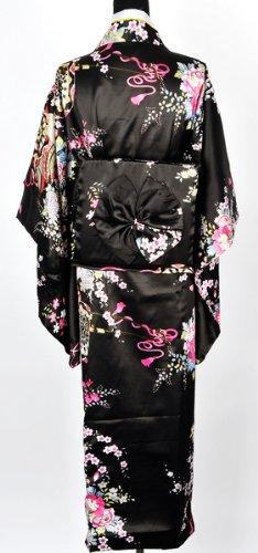 Japanisch Kimono Robe Yukata Schlafanzug Schwarz - 3