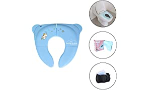 Safe-O-Kid Portable Foldable Potty Seat, Best Hygienic Sanitary Toilet Solution for Kids - Pack of 1, Blue (Comes with a Carry Bag)