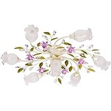 Lampadario da soffitto fiore decorativo dipinto bianco verde e rosa