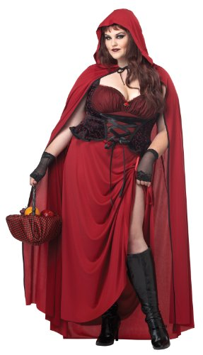 Dark Red Riding Hood Adult Costume Plus Size 1X (Red Riding Hood Kostüm Plus)