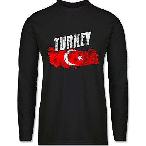 Shirtracer Länder - Turkey Umriss Vintage - Herren Langarmshirt Schwarz