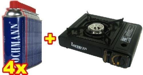 Original Kochmann® Campingkocher + 4 Gaskartuschen 227g. Gaskocher Gas Camping Kocher Gaskartusche MSF-1A