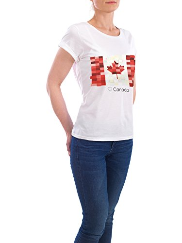 "Design T-Shirt Frauen Earth Positive ""Canada Flag"" - stylisches Shirt Reise Reise / Länder von GREENGREENDREAMS Weiß"
