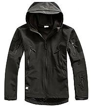 Impermeable militar táctica lucha contra la chaqueta de Softshell camping al aire libre caminar camuflaje Hoodie Coat (Black, L)