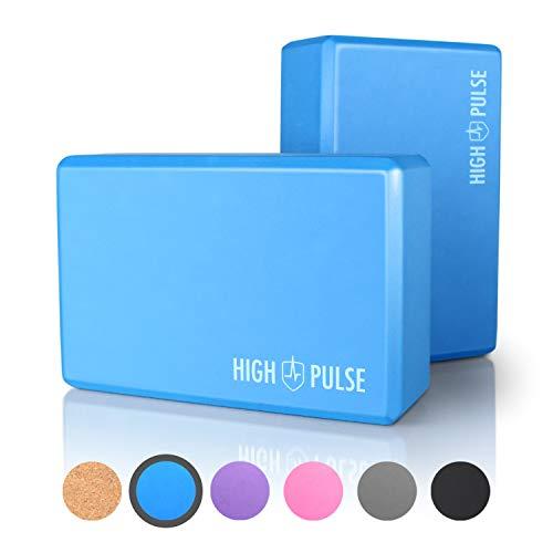 High Pulse® Yoga Block 2er Set (Hartschaum in versch. Farben) – Hochwertige Yogablöcke als praktisches Zubehör und…