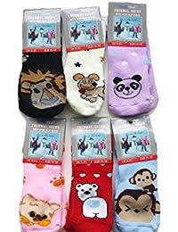 6 Pairs Anti-slip Toddler Socks Various Animal Print Designs, Assorted Kids Socks Size 0 - 2.5 (eu 15-18) Boys Girls Socks