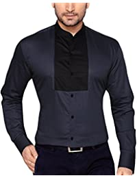 GlobalRang Solid Chinese Collar Grey Tuxedo Casual Shirt For Men Stylish