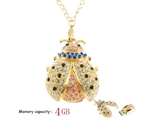 Get 4 GB Crystal Beetle Necklace USB Flash Drive (Yellow) Test