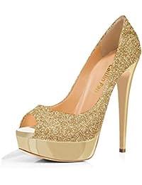 d2e10a340c947 Caitlin Pan Donna Tacchi Alti Slip On Pompe Stiletti Piattaforma Peep Toe  Festa Sandali Dress Scarpe
