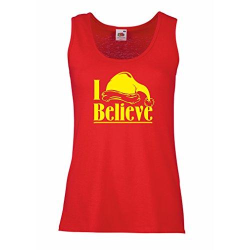 lepni.me Serbatoio,Maglietta senza maniche femminile I Believe Santa Claus - Citazioni natalizie, Abiti da festa Rosso Giallo