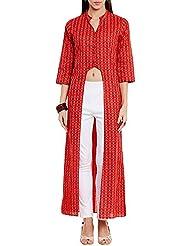 mujeres algodón U Línea de corte impresas larga Kurta V Neck, Rojo