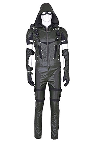 QianQian Herren Grün PU-Leder Anzug Halloween Cosplay Kostüm voller Satz (Herren-L, Grün)