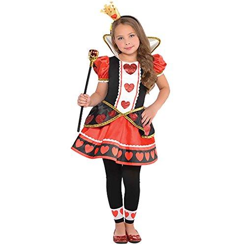Amscan Herzkönigin Alice im Wunderland Kostüm Kinder Mädchen (Alice Im Wunderland Kinder Kostüm)