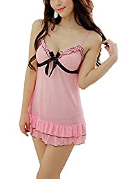 Caratcube Pink Ultra Hot Sexy Lace Sleepwear Babydoll Lingerie 2 Piece For Women (CTC - BD - 19)
