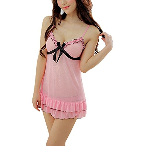 Caratcube Pink Ultra Hot Sexy Lace Sleepwear with G - String Underwear Lingerie Self Design 2 Piece Nightwear Babydoll For Women (CTC - BD - 19)