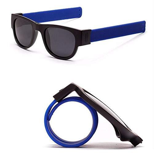 Yncc Faltbare Sonnenbrille, Damen Herren Kreative Armband-Gläser polarisierte Sonnenbrille-Schutzbrillen-Verschluss-Armband-Bänder Armband Froschspiegel Andschlaufe Outdoor-Reitbrille Big Frame (BU)