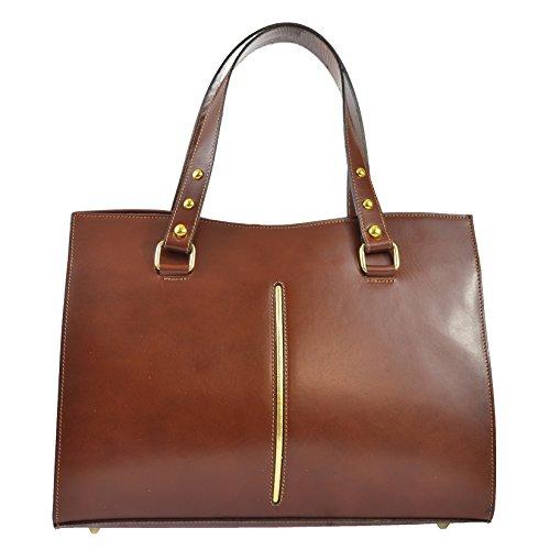 CTM Frauen klassische Handtasche aus echtem Leder hergestellt in Italien D9134 - 38x27x12 Cm Braun