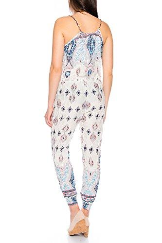 Dress Sheek Damen Overall Jumpsuit Gemustert mit Träger R150-Weiß