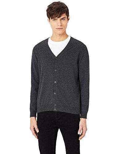 MERAKI Baumwoll-Strickjacke Herren mit V-Ausschnitt, Grau (Charcoal), XXX-Large (Baumwolle-strickjacke Leichte)