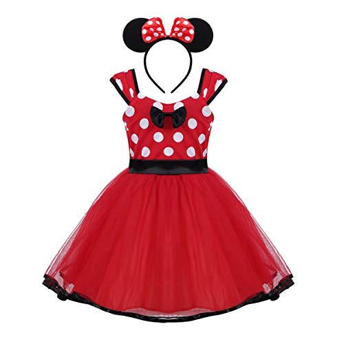 Agoky Baby Mädchen Kostüm mit Haarreif Prinzessin Kleid Maus Ohren Polka Dots Verkleidung Outfits Party Festzug Weinachten Karneval Fasching Geburtstag Rot 92-98