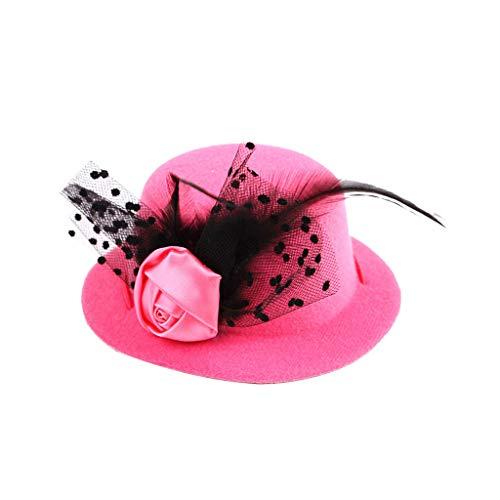 CAOQAO Chapeau De FêTe pour Animaux De Compagnie Dentelle Rose Plumes Casquette Noble Accessoire pour Animal Domestique Chien Et Chat,Rose, Taille Unique