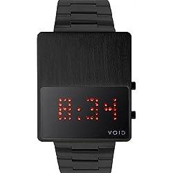 Void V01LED-BL/MB Black Stainless Digital Red LED Watch