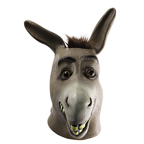 Esel Maske, Halloween Shrek Esel Gesichtsmaske, Neuheit Deluxe Kostüm Party Latex Tierkopf Maske für Erwachsene (Deluxe Maske Kostüm)