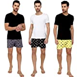 The Cotton Company Men's Bat Cotton Boxer Shorts (Multicolour, Small) - Pack of 3