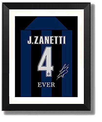 ASENER Javier Zanetti Fotorahmen, Inter Mailand Nr. 4 Jersey Autogramm Druck Bild Gerahmt,10Inch